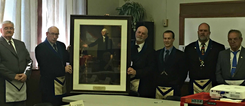 Boiling Springs Masonic Lodge Members Present UFRC Board with George Washington portrait.